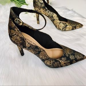 Christian Siriano | Black & Gold Scallop Heels